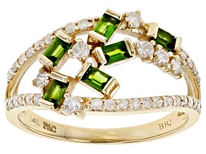 Chrome Diopside & White Diamond 14K Yellow Gold Open Design Ring 0.82ctw