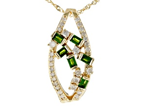 Chrome Diopside & White Diamond 14K Yellow Gold Pendant 0.77ctw
