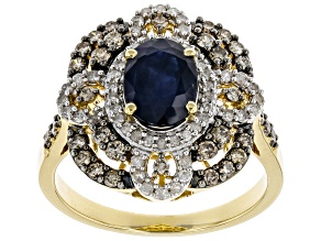 Blue Sapphire And Champagne & White Diamond 14K Yellow Gold Ring 2.06ctw