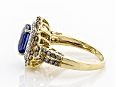 Blue Kyanite & Champagne & White Diamond 14K Yellow Gold Ring 2.11ctw