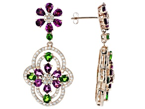 Grape Color Garnet, Chrome Diopside & Diamond 14K Rose Gold Earrings 6.26ctw
