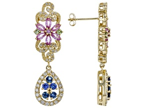 Pink, Blue, & Green Sapphire And White Diamond 14K Yellow Gold Earrings 2.38ctw
