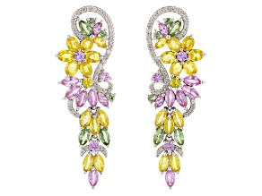 Yellow, Pink, & Green Sapphire And White Diamond 14K White Gold Earrings 7.92ctw
