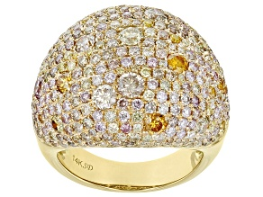 Natural Multi-Color Diamond 14K Yellow Gold Ring 4.48ctw