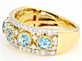Swiss Blue Topaz & White Diamond 14K Yellow Gold Ring 1.56ctw