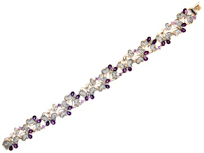 Grape Color Garnet, Pink Sapphire, & White Diamond 14K Rose Gold Bracelet 7.39ctw