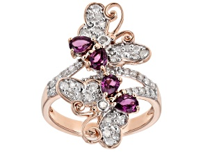Grape Color Garnet & White Diamond 14K Rose Gold Ring 1.01ctw