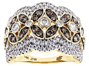 Champagne & White Diamond 14K Yellow Gold Ring 1.50ctw