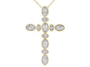 White Diamond 14K Yellow Gold Cross Pendant 0.25ctw