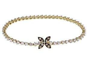 Champagne & White Diamond 14K Yellow Gold Bracelet 3.00ctw