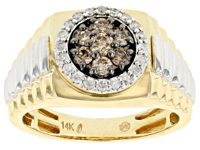Champagne & White Diamond 14K Two-Tone Gold Gents Ring 0.75ctw