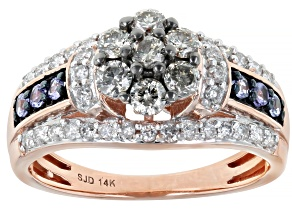 Champagne And White Diamond With Blue Tanzanite 14k Rose Gold Cluster Ring 1.00ctw