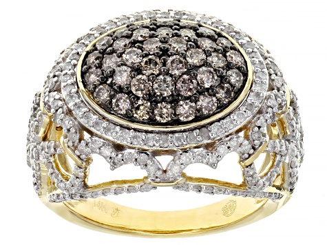 Champagne And White Diamond 14k Yellow Gold Cluster Ring 2.00ctw