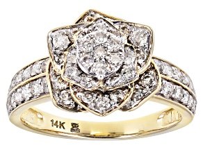 White Diamond 14K Yellow Gold Flower Cluster Ring 1.00ctw