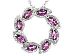 Grape Color Garnet & White Diamond 14K White Gold Pendant 1.68ctw