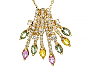 Green, Yellow, & Pink Sapphire And White Diamond 14K Yellow Gold Cluster Pendant 1.99ctw