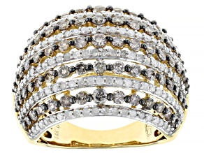 Champagne And White Diamond 14k Yellow Gold Dome Ring 2.35ctw