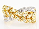 Natural Yellow And White Diamond 14k Yellow Gold Crossover Band Ring 1.00ctw