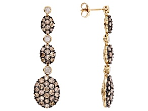 Champagne And White Diamond 14k Yellow Gold Dangle Earrings 3.04ctw