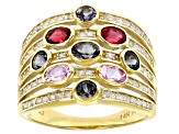Gray, Pink, & Red Spinel And White Diamond 14K Yellow Gold Cocktail Ring 1.79ctw