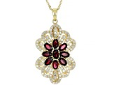 Red Spinel And White Diamond 14K Yellow Gold Flower Pendant 2.92ctw