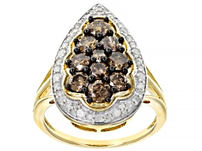 Champagne And White Diamond 14k Yellow Gold Cluster Ring 1.65ctw