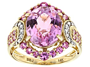 Pink Kunzite, Pink Sapphire & White Diamond 14K Yellow Gold Cocktail Ring 6.54ctw