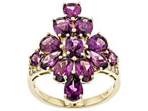 Grape Color Garnet & White Diamond 14K Yellow Gold Cocktail Ring 5.67ctw