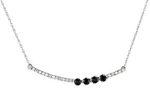 Blue Sapphire And White Diamond 14k White Gold Bar Necklace .40ctw