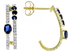 Blue Sapphire And White Diamond 14k Yellow Gold J-Hoop Earrings 1.03ctw