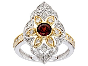 Red Garnet & White Diamond 14K Two-Tone Gold Cocktail Ring 1.05ctw