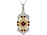 Red Garnet & White Diamond 14K Two-Tone Gold Pendant 1.65ctw