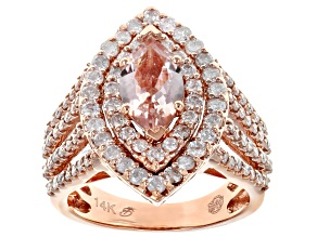 Pink Morganite & White Diamond 14K Rose Gold Cocktail Ring 2.33ctw