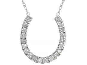 White Diamond 14K White Gold Horseshoe Necklace 0.20ctw