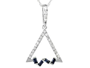 Blue Sapphire And White Diamond 14K White Gold Triangle Pendant With Rope Chain 0.22ctw