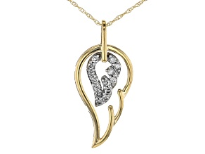 White Diamond 14k Yellow Gold Angel Wing Pendant With Chain 0.15ctw