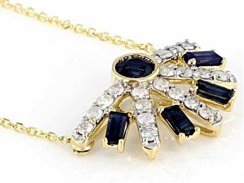 Blue Sapphire And White Diamond 14k Yellow Gold Necklace 1.19ctw