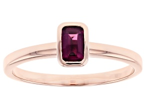 Grape Color Garnet 14k Rose Gold Solitaire Ring 0.34ct