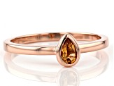 Citrine 14k Rose Gold Solitaire Ring 0.15ct