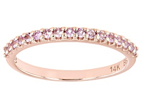 Pink Sapphire 14k Rose Gold Band Ring 0.28ctw