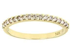 Champagne Diamond 14k Yellow Gold Band Ring 0.25ctw