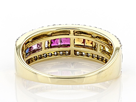 Multi-Color Sapphire And Ruby With White Diamond 14k Yellow Gold Band Ring 1.34ctw