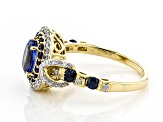 Blue Kyanite, Blue Sapphire And White Diamond 14k Yellow Gold Halo Ring 1.54ctw