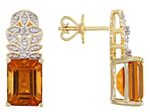 Orange Madeira Citrine And White Diamond 14k Yellow Gold Drop Earrings 2.62ctw
