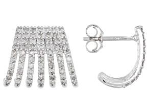 White Diamond 14k White Gold J-Hoop Earrings 1.05ctw
