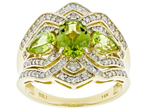 Green Peridot And White Diamond 14k Yellow Gold 3-Stone Ring 2.28ctw