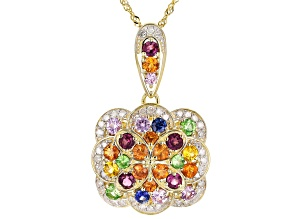 Multi-Color Sapphire, Rhodolite, Tsavorite Garnet & White Diamond 14k Yellow Gold Pendant 2.10ctw