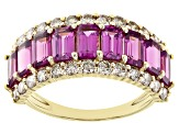 Rhodolite Garnet And Champagne Diamond 14k Yellow Gold Band Ring 3.65ctw