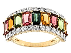 Multi-Color Tourmaline And White Diamond 14k Yellow Gold Band Ring 3.35ctw