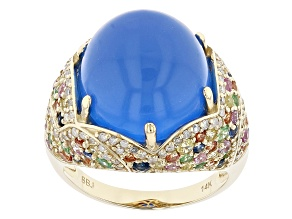 Blue Chalcedony, Multi-Color Sapphire, Tsavorite Garnet & Diamond 14k Gold Ring 13.25ctw